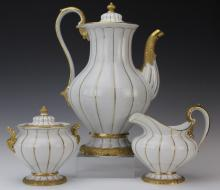 MEISSEN German Porcelain 3 Piece Gold Gilt Tea Set