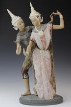 LLADRO Thai Dancer Couple 2058 Porcelain Statue