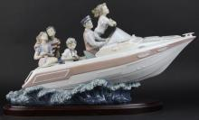 LLADRO Family Outing Speedboat Porcelain Figurine