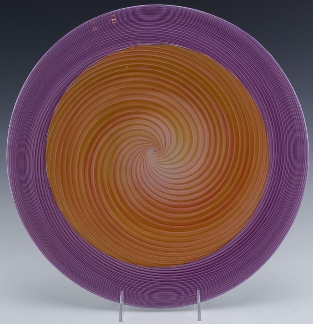 Church & Maple Studio Art Glass Spiral Charger 14""
