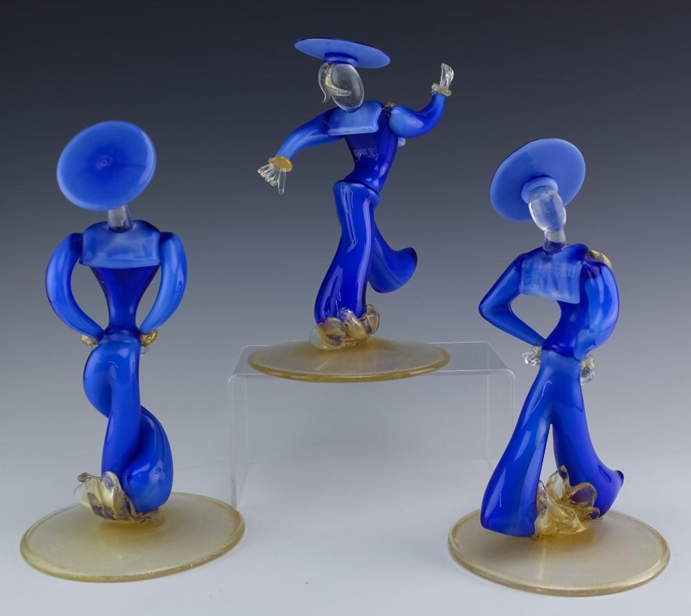 Lot 43: 3 Seguso Italian Murano Art Glass Sailor Sculpture