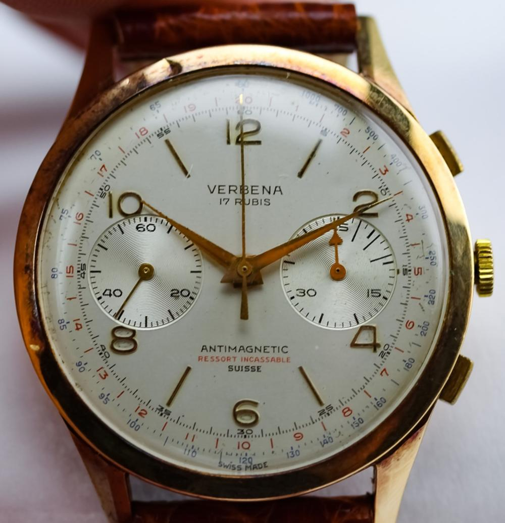 Mens Verbina 18k Solid Gold 38mm Chronograph Watch