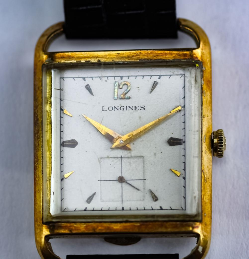 Working 1940's Longines 14k Solid Gold Tank Watch