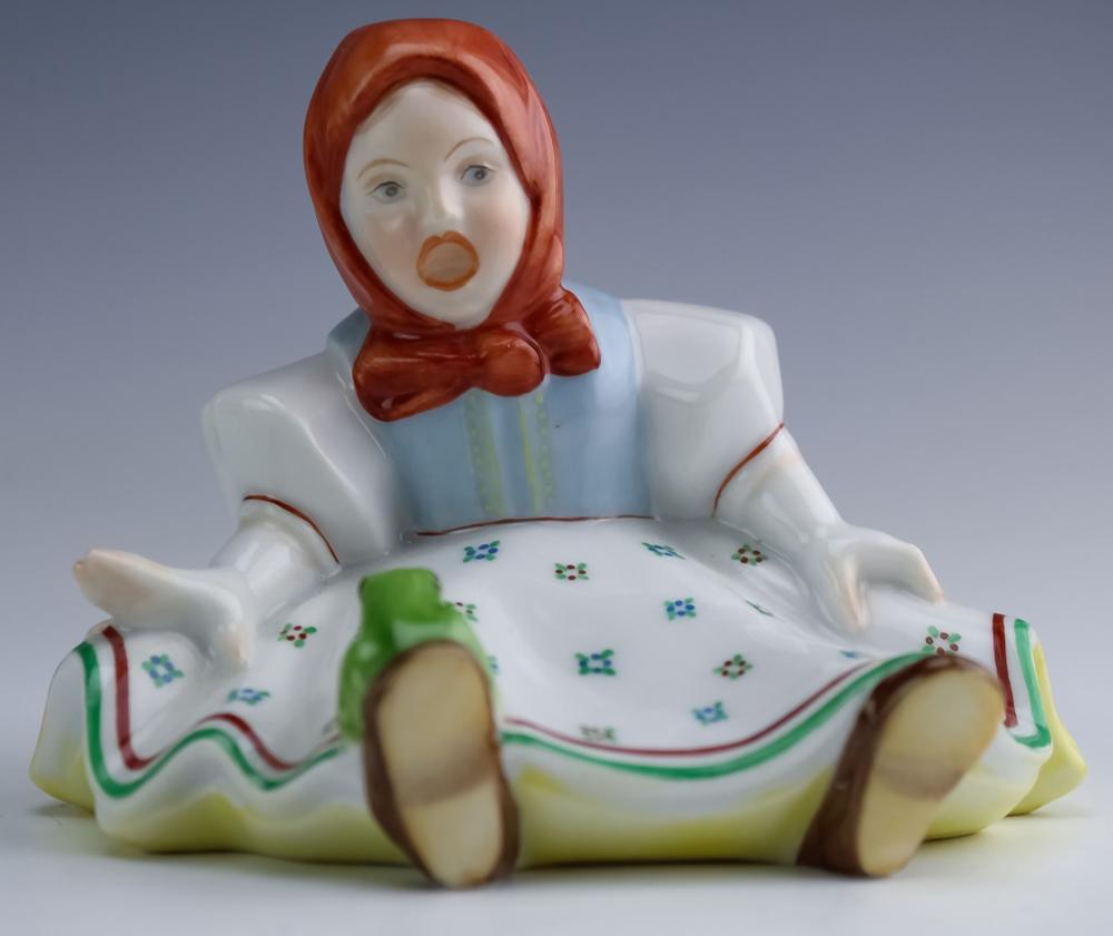 Herend Hungary Porcelain Seated Girl w/ Frog 5527