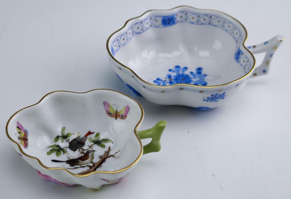 LOT of 2 Herend Hungarian Porcelain Leaf Dishes