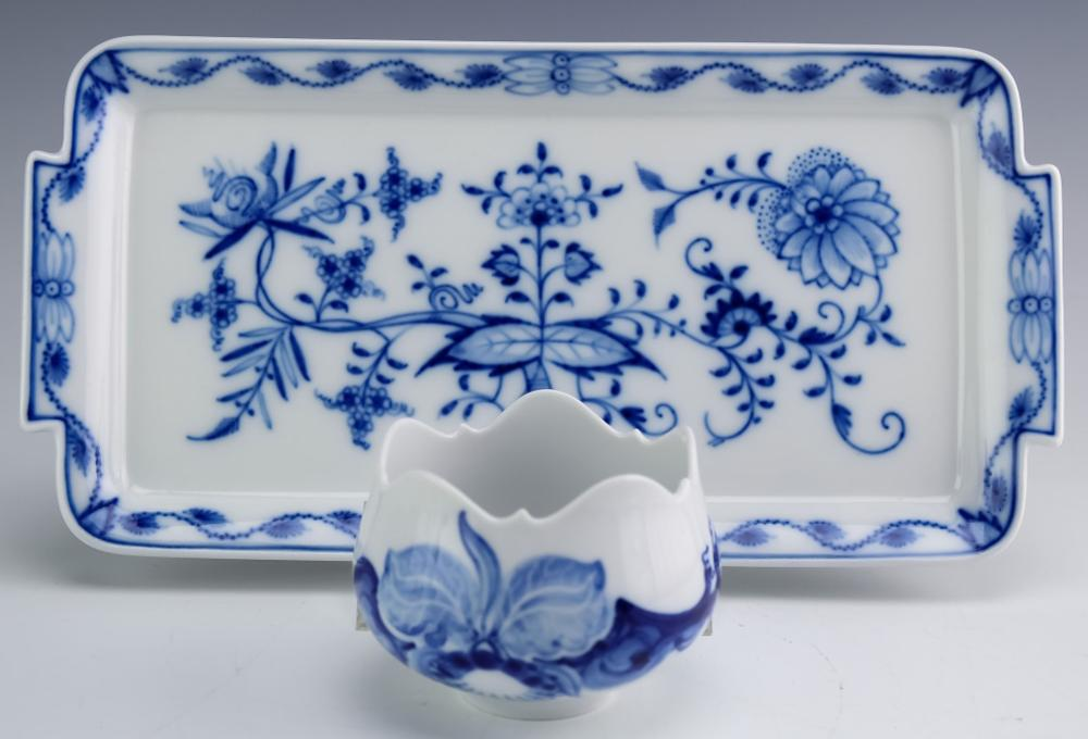 Meissen German Porcelain Blue & White Tray & Cup