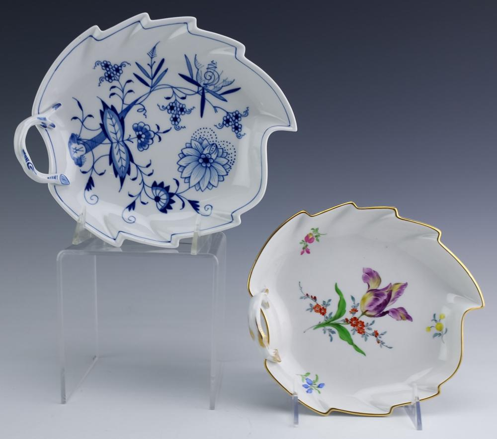 Meissen Pair of Hand Painted Leaf Form Dish Trays