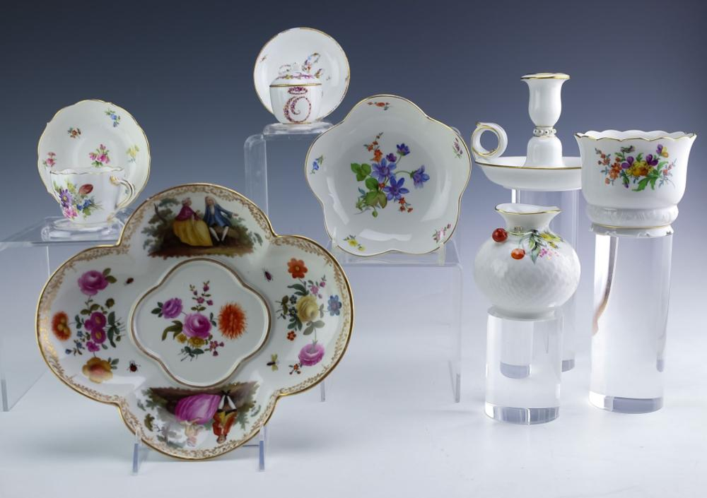 Meissen Collection of 9 German Porcelain Objects