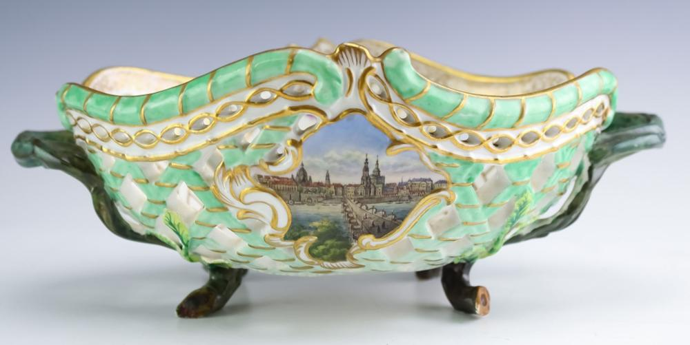 Meissen Reticulated Architectural Porcelain Basket