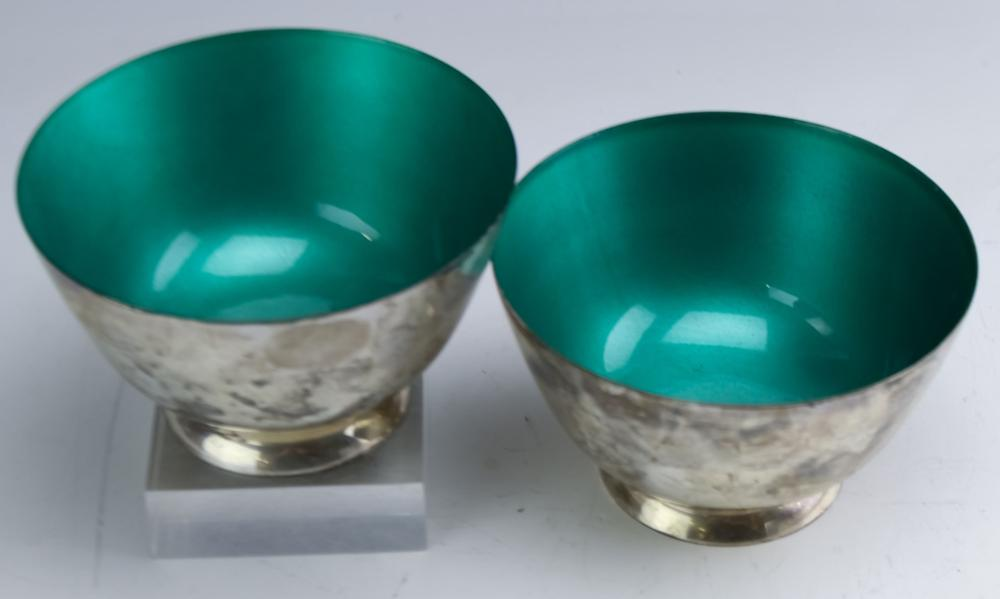 Pr TOWLE Sterling Silver Turquoise Enameled Bowls