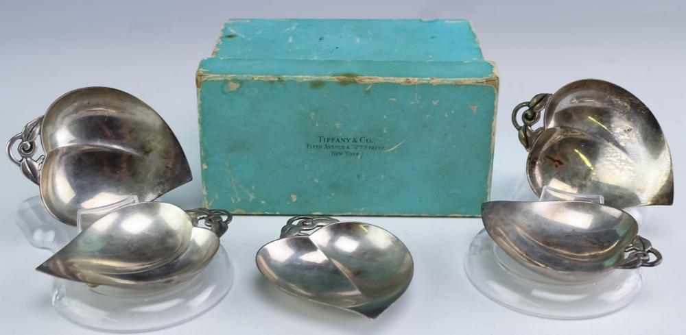 SET 5 TIFFANY & CO Sterling Silver Deco Nut Dishes