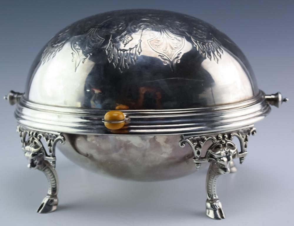 Antique Silver Plated Roll Top Dome Warming Dish