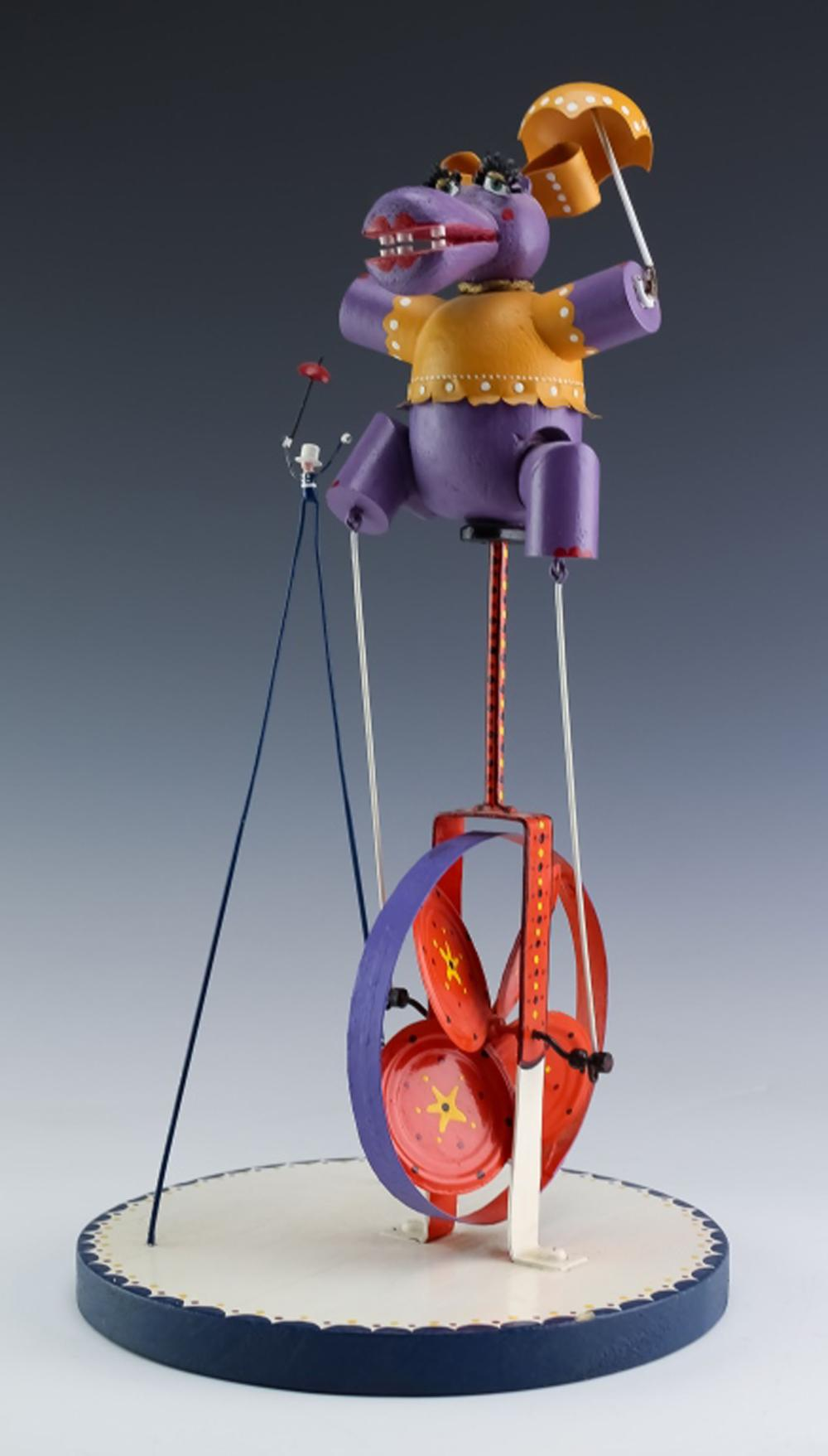 American Folk Art Circus Hippo on Unicycle Statue