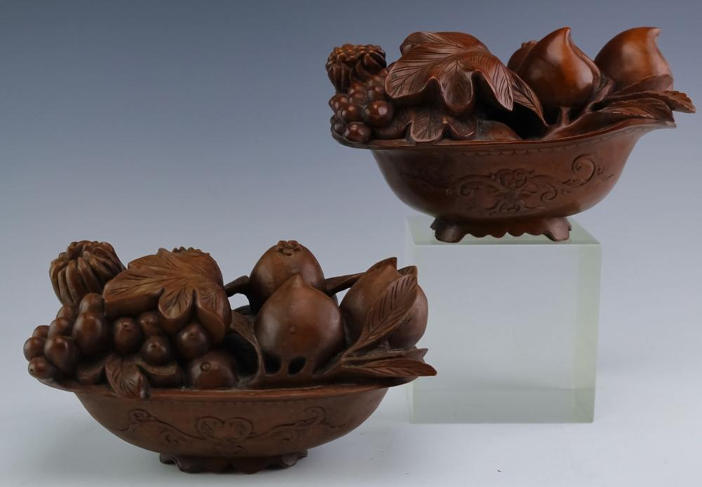 Pair Hand Carved Wood Bowl w/ Fruit & Nuts QUALITY