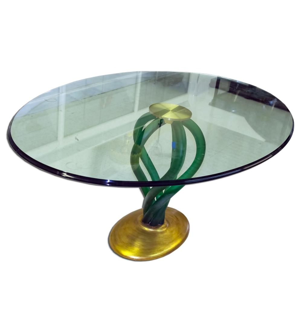 Stunning Gold Gilt & Green Free Form Lucite Table