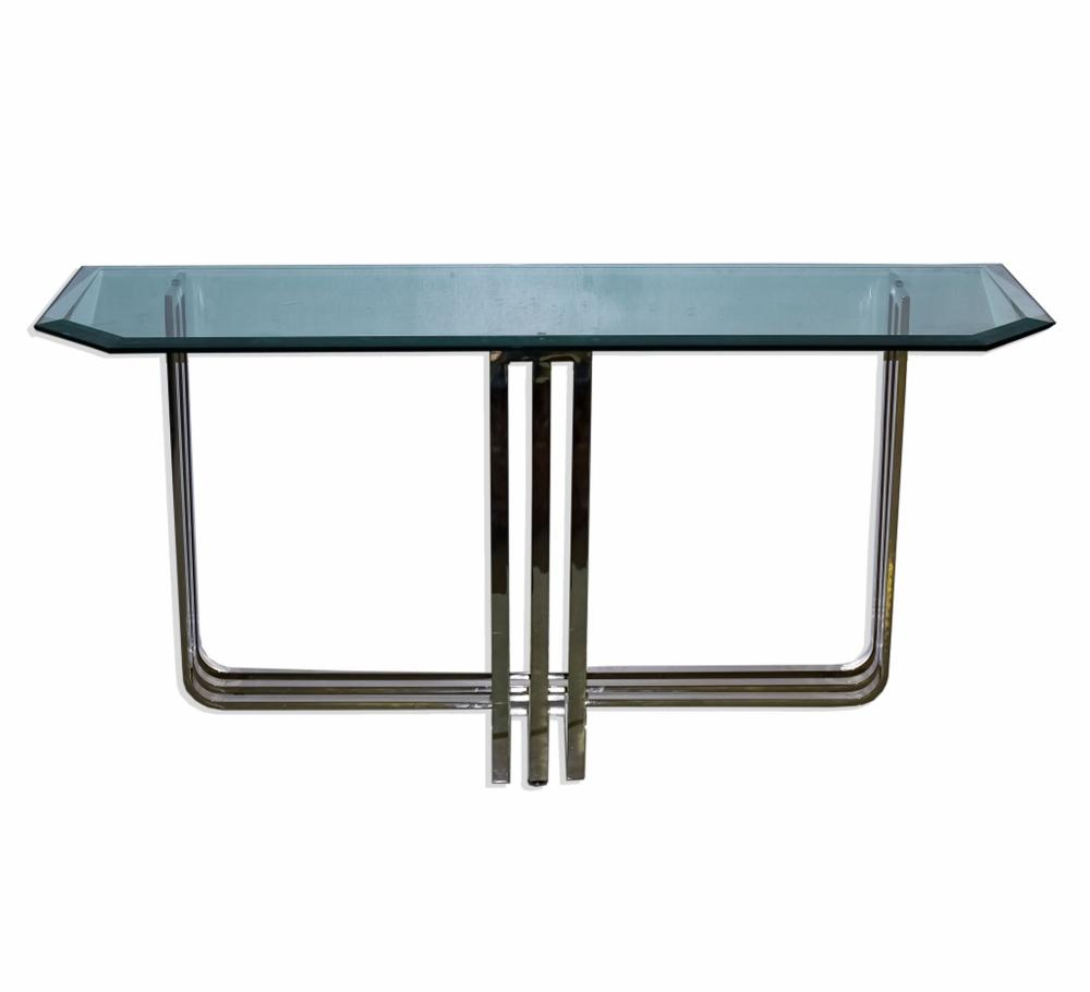 Modernist Tri-footed Chrome & Beveled Glass Table