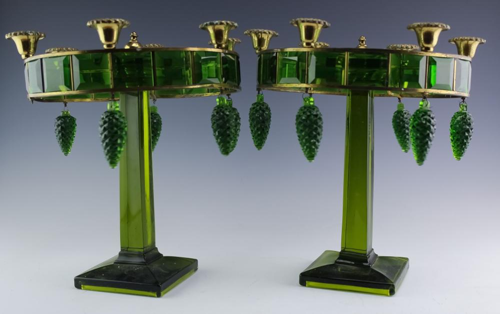 Pair Art Deco Style Green Glass Candelabras 13""