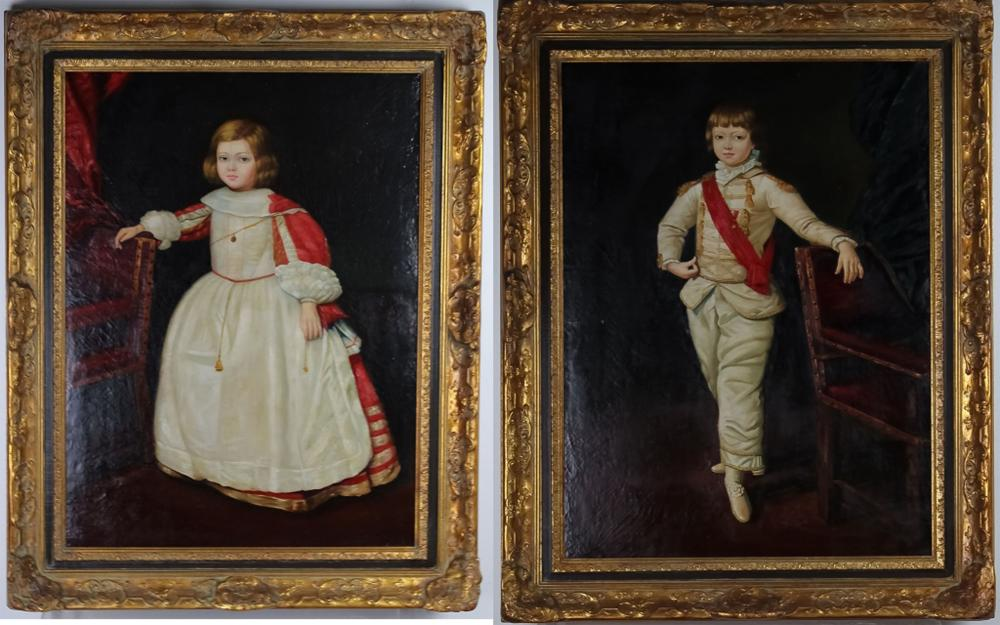 PAIR of Carlo Pizzato Children's Portrait Painting