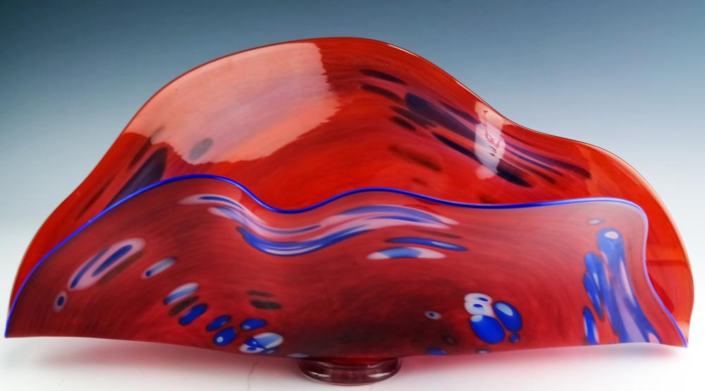 American Studio Art Glass Centerpiece Bowl SIGNED