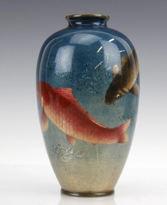 Japanese two tone cloisonne enamel koi fish vase for Koi fish vase