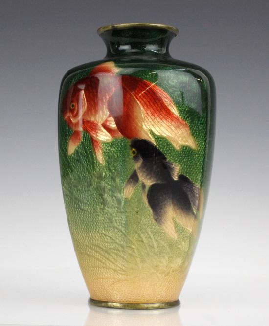 Musen enamel koi fish vase by kumeno teitaro for Koi fish vase