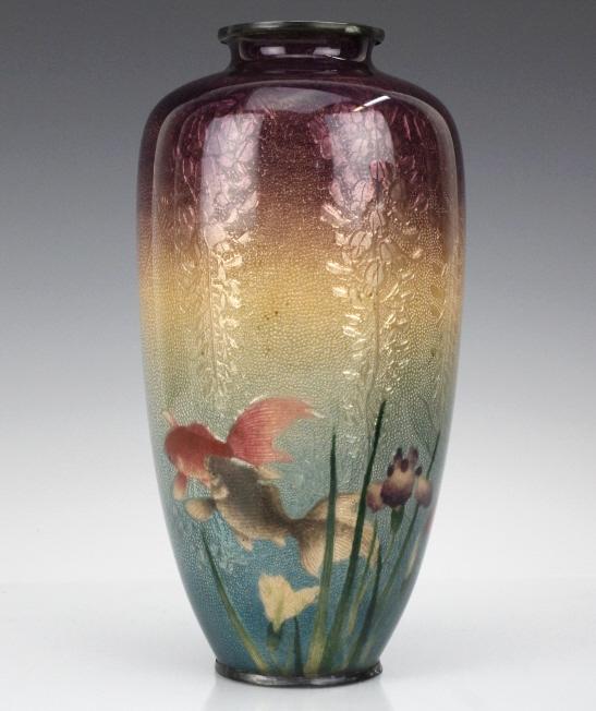 Musen enamel koi fish vase by ogasawaro shuzo for Koi fish vase