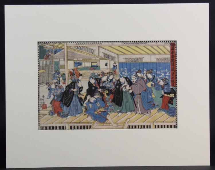 Antique Japanese Utagawa Kunisada Wood Block Print