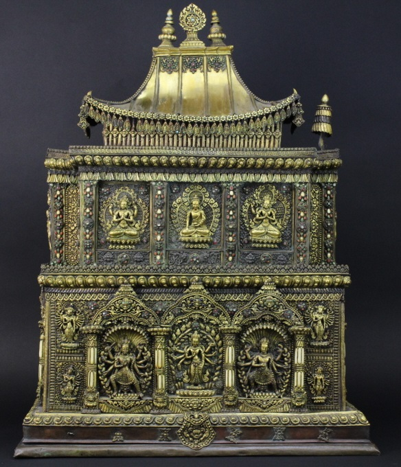Antique 19th Century Nepalese Jeweled Gilt Bronze 34.5