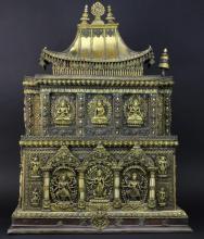 Antique 19th Century Nepalese Jeweled Gilt Bronze 34.5