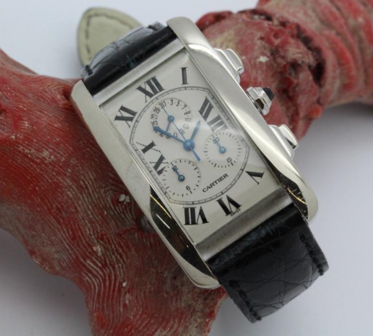 18K White Gold Cartier American Tank Chrono Wrist Watch Ref. 2312