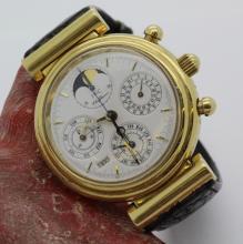 Mens 18K Yellow Gold IWC DaVinci Calendar Wrist Watch Ref. 3750