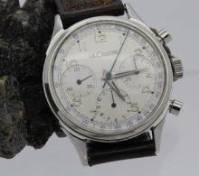 Mens LeCoultre Stainless Steel TRIPLE REGISTER Chrongraph Watch Circa 1940