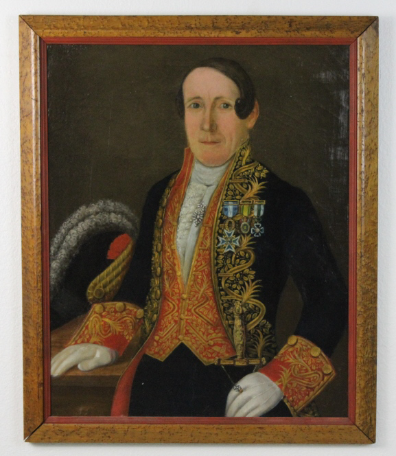 Circle of Goya Portrait Joseph Bonaparte Oil Painting w/ Birds Eye Maple Frame