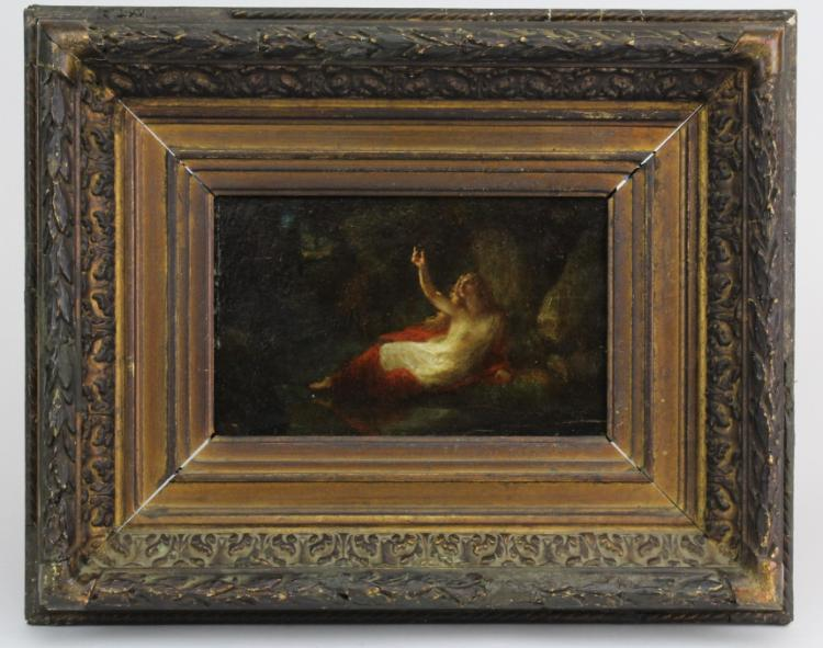 Henri Fantin Latour (1836-1904) Figural Landscape Oil Painting w/ Estate Wax Seal