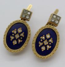 Victorian Revival Era 14K Yellow Gold Diamond w/ Blue Enamel Earrings