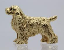 Cute 14K Yellow Gold Figural Cocker Spaniel Dog Brooch Pin 8.7g