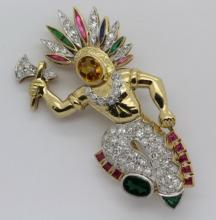 14K Gold & Platinum Diamond Emeral Figural American Indian Chief Brooch Pin