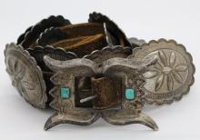 OLD PAWN 30's Native American Indian Silver 10 Concho Belt w/ Sand Cast Buckle
