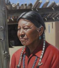 Signed Dwight Roberts Manuel of Taos Native American Indian Portrait Oil Painting