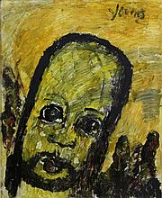 Signed Purvis Young (1943-2010) Angel Head Outsider Folk Art Oil Painting