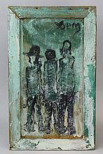 Signed Purvis Young (1943-2010) 3 Figures Outsider Folk Art Oil Painting