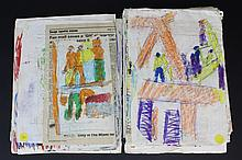 37 piece Collection of Purvis Young (1943-2010) Outsider Folk Art Painting