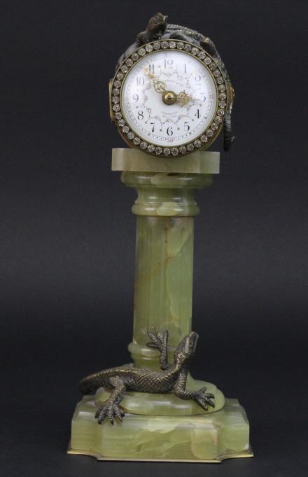Rare Antique  J.E. CALDWELL Bronze Lizard French Pedestal Mantle Clock