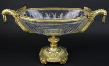 Large Mounted Baccarat French Crystal Centerpiece Bowl STUNNING