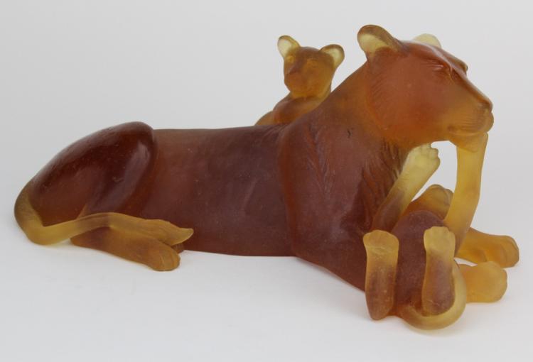 Signed Daum Pate de Verre LARGE Lioness & Cubs Amber Art Glass Sculpture