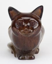 LARGE Signed Daum Pate de Verre Seated Kitty Cat Kitten Art Glass Sculpture