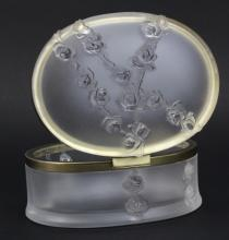 Signed Lalique French Crystal Art Glass Roses in Relief Table Dresser Box