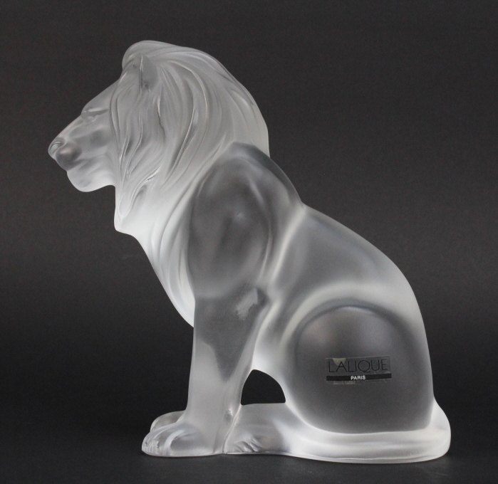 Signed Lalique France Crystal Frosted Art Glass Bamara Lion 8