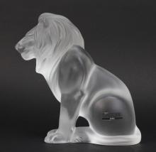 Signed Lalique France Crystal Frosted Art Glass Bamara Lion 8