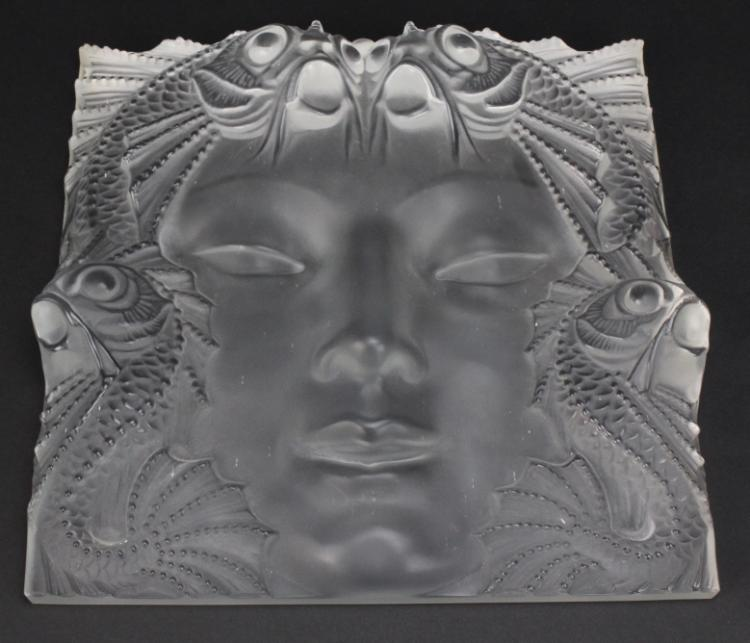 Signed Lalique French Crystal Art Glass Masque de Femme Face 12.5